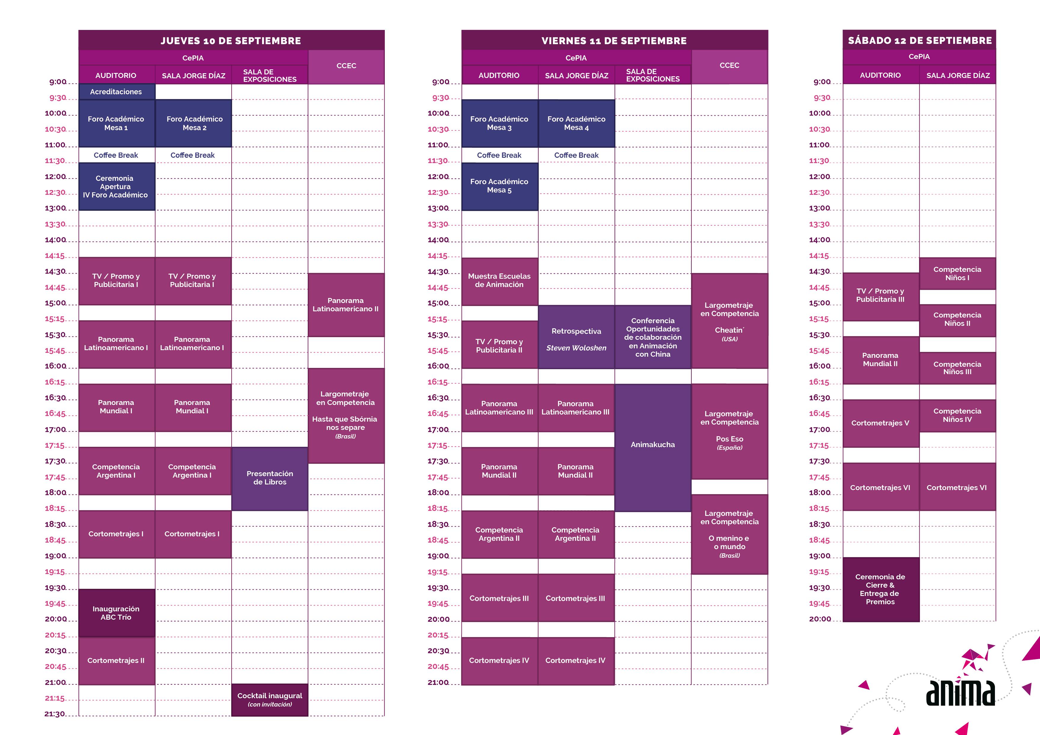 ANIMA2015 Schedule!